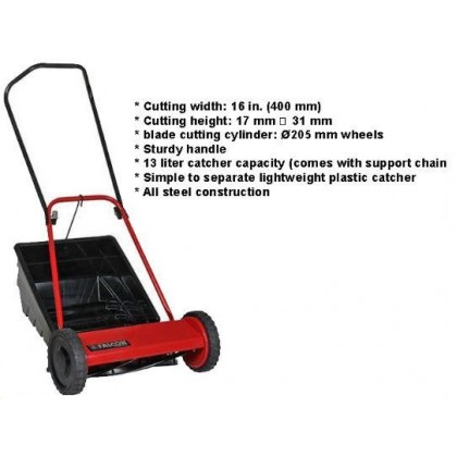 """FALCON 16"""" HAND PUSH LAWN MOVER C/W PLASIC CATCHER Catcher With Support Chain All Steel Construction"""